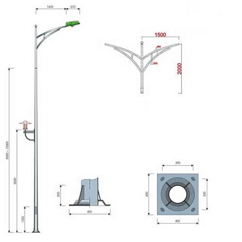 Hình minh họa cột đèn cao áp PN06