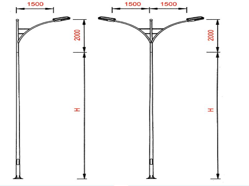 Cột đèn cao áp mã PN 01 được làm từ thép nguyên khối, không cắt, dày 3-5mm