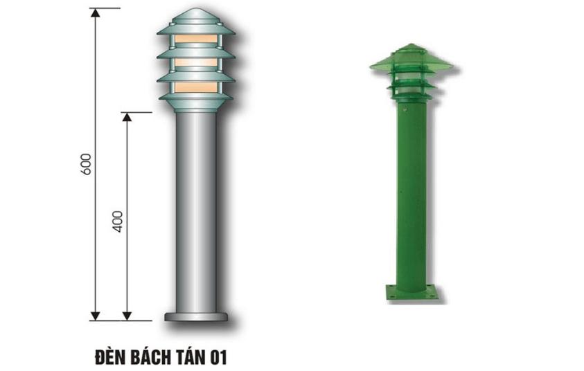 Kích thước và hình dạng của đèn nấm bách tán