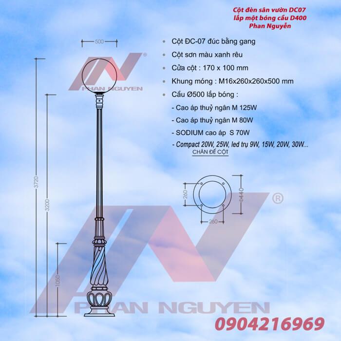 Cột đèn sân vườn Banian DC07