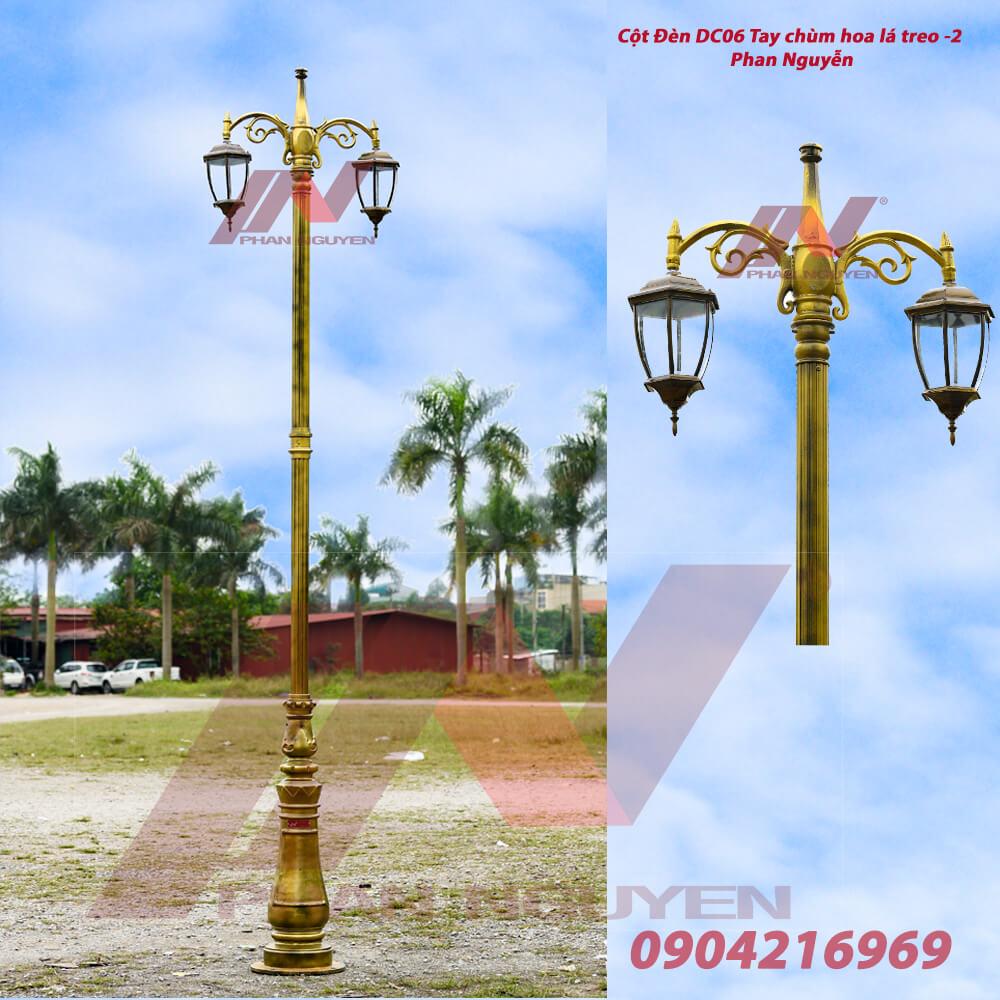 Cột đèn trang trí sân vườn DC06 Sơn màu đồng, lắp tay chùm treo đèn lồng