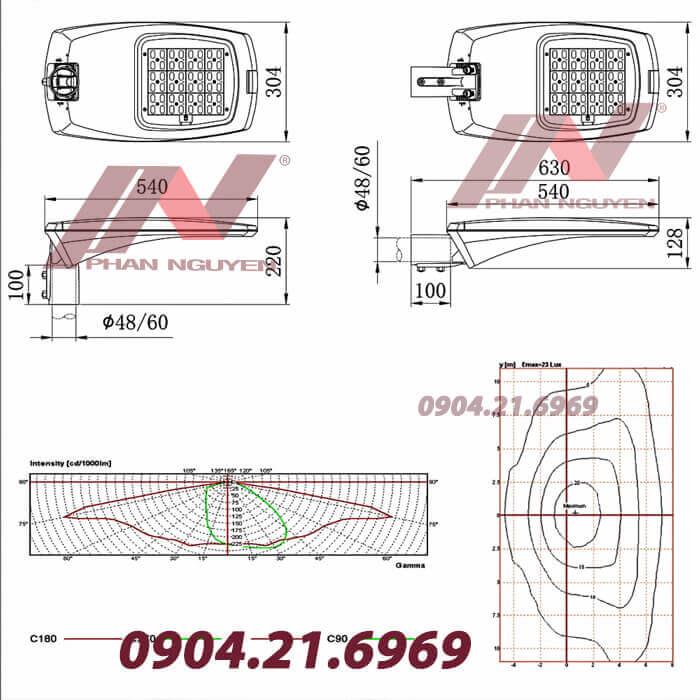 Thông số kích thước kỹ thuật đèn đường led PNL 11