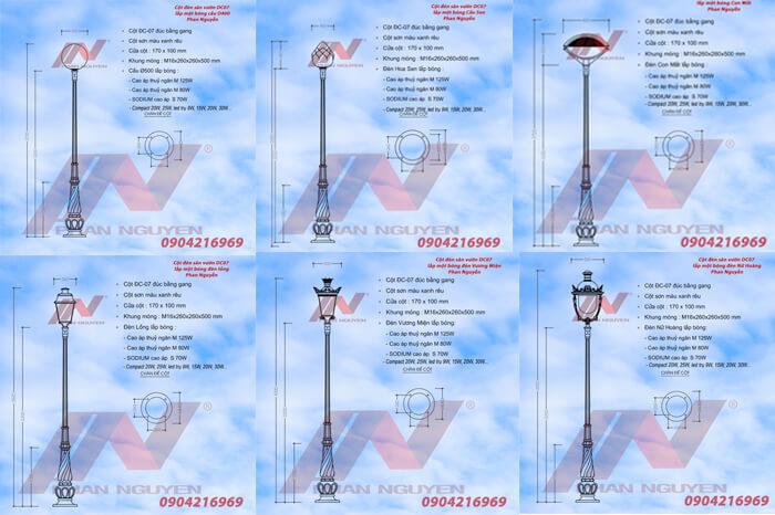 thông số kỹ thuật cột đèn sân vườn