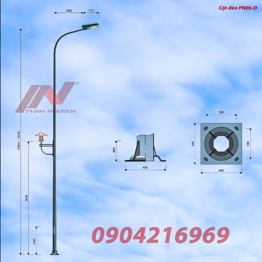 cần đèn cao áp đơn PN06 mạ kém chống gỉ, phù hợp lắp các loại cột đèn rời cần