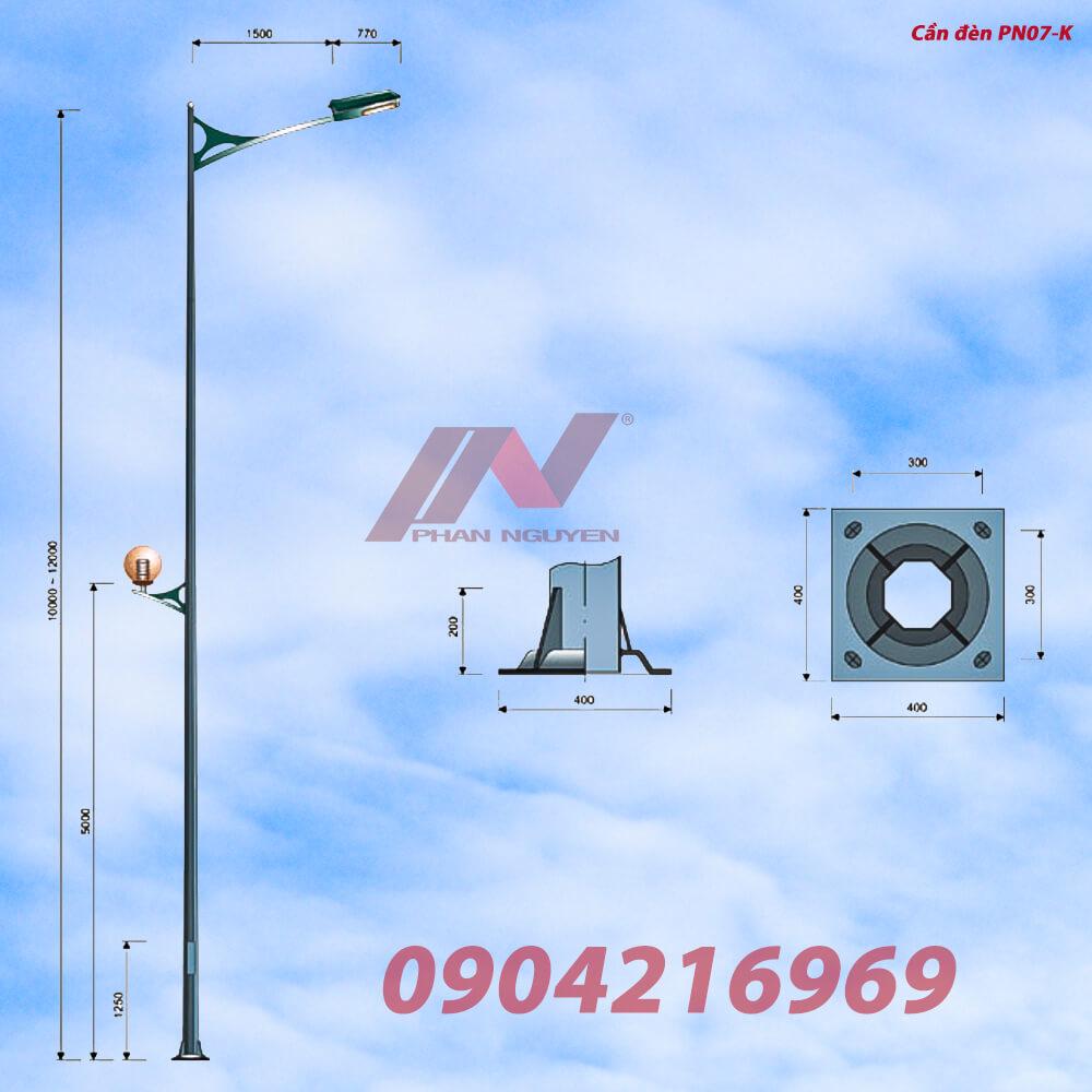 cần đèn cao áp đơn PN08-D phù hợp lắp cột bát giác, tròn côn rời cần
