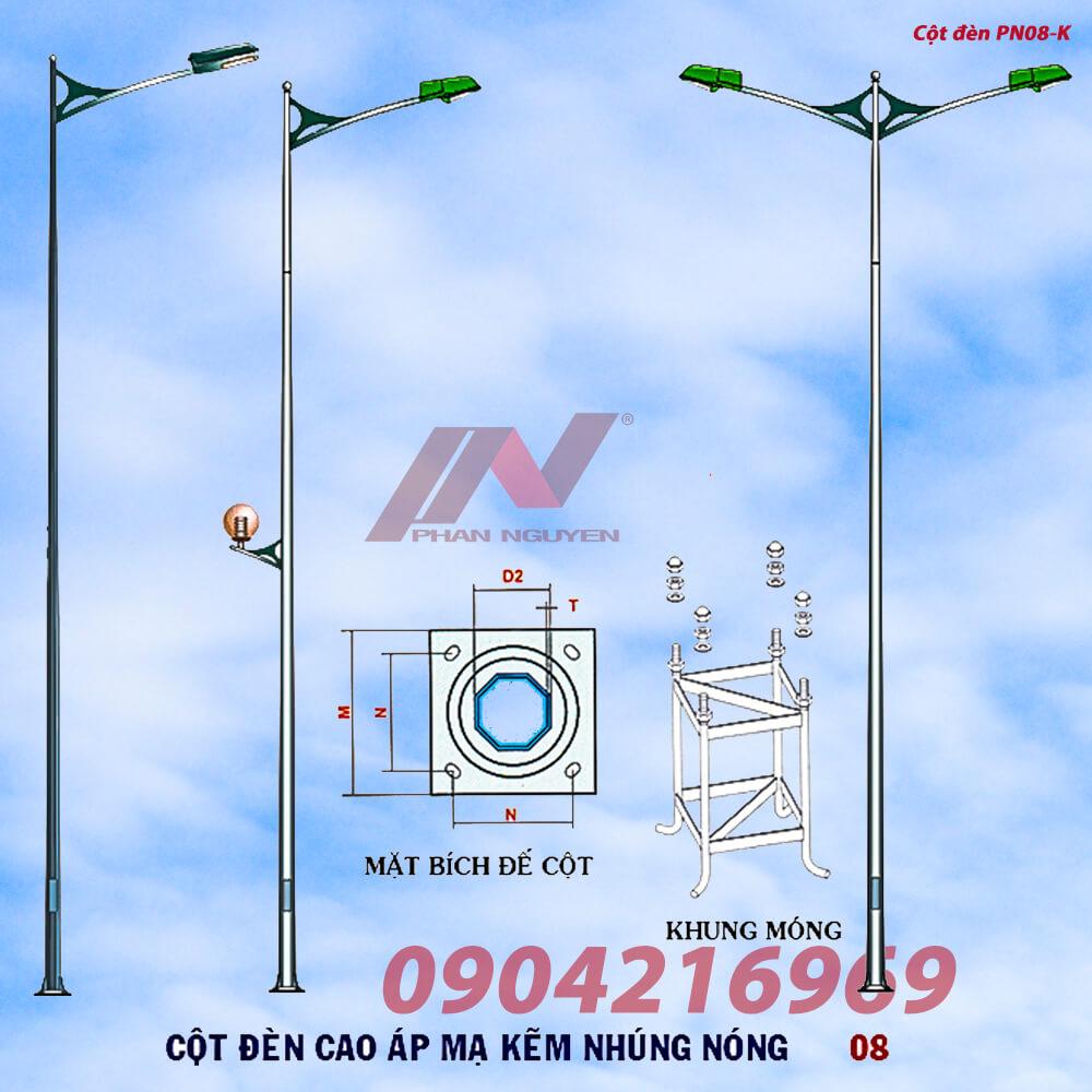 cột đèn cao áp lắp cần kép PN08-K