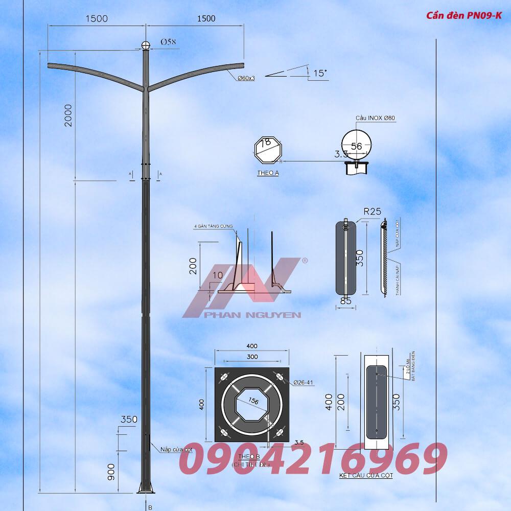 cần đèn cao áp kép PN09 mạ kẽm chống gỉ, phù hợp lắp các loại cột đèn rời cần