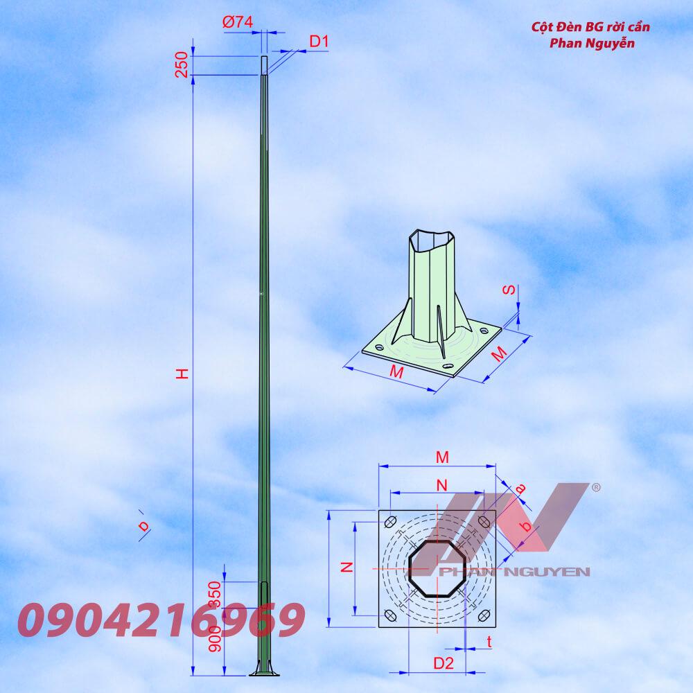 cột đèn cao áp bát giác rời cần cao 8m