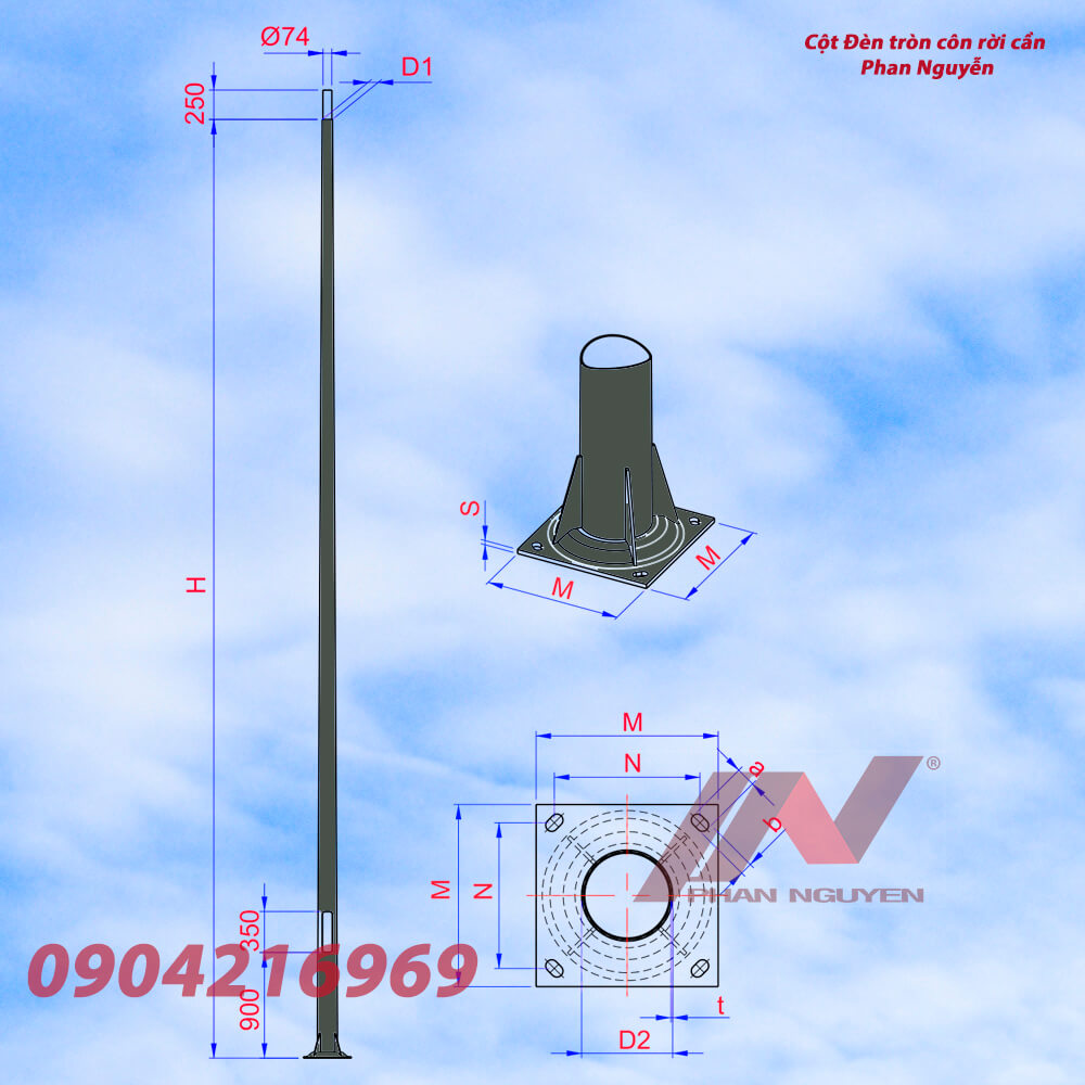 cột đèn cao áp tròn côn rời cần cao 11m TC11-78