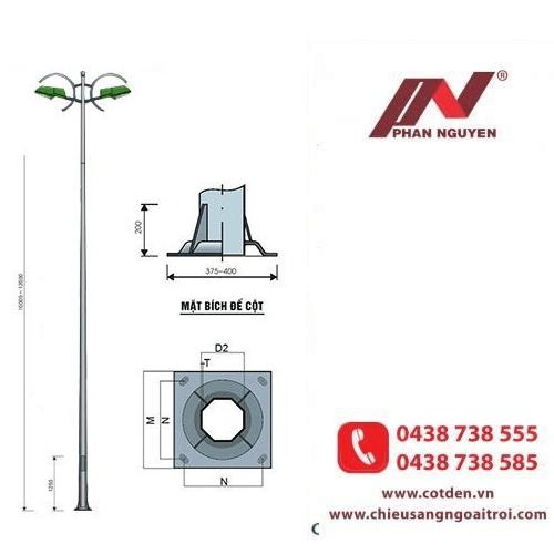 Cần đèn cao áp kép PN12-K phù hợp lắp đặt nhiều loại cột đèn chiếu sáng