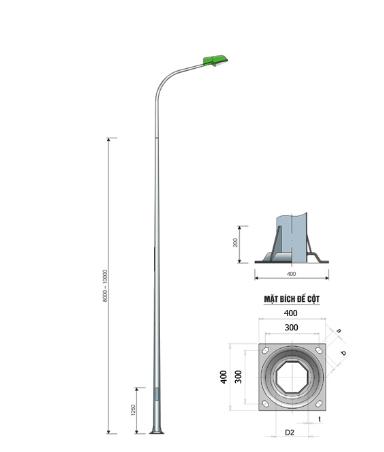 Cột đèn cao áp liền cần bát giác