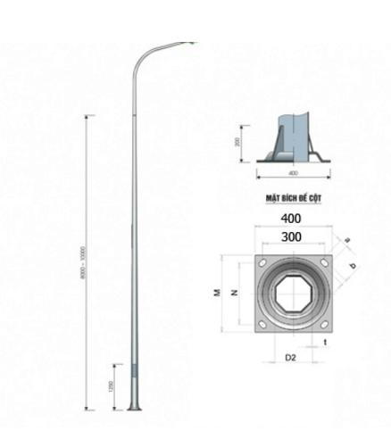Cột đèn cao áp liền cần tròn