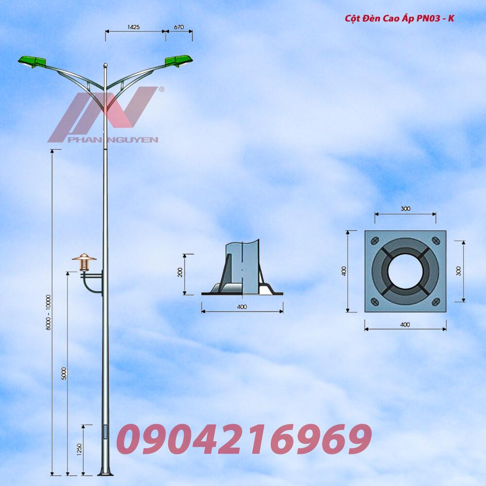 cột đèn cao áp lắp cần đôi 03K, cột thép mạ kẽm nhúng nóng, cột đèn đường