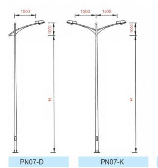 Cột đèn cao áp PN07 thiết kế cần đơn, cần kép