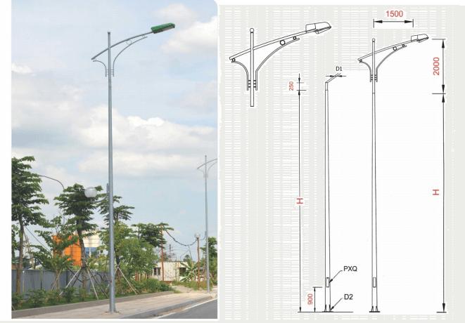 Cột đèn cao áp bát giác rời cần BG9-78