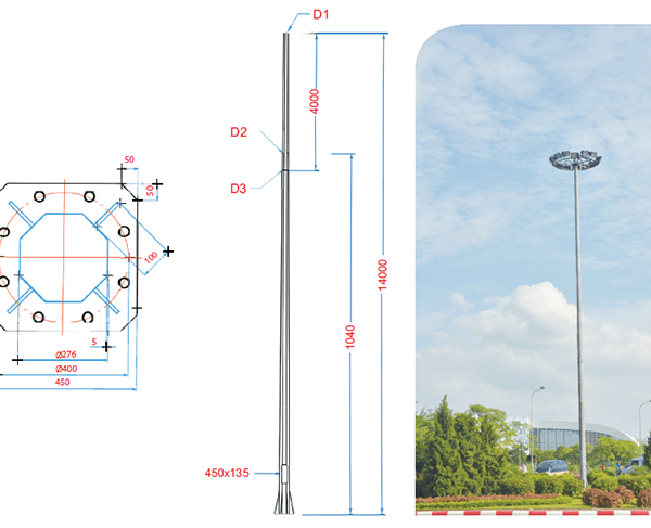 Cột đèn đa giác 14M – DG14 -120