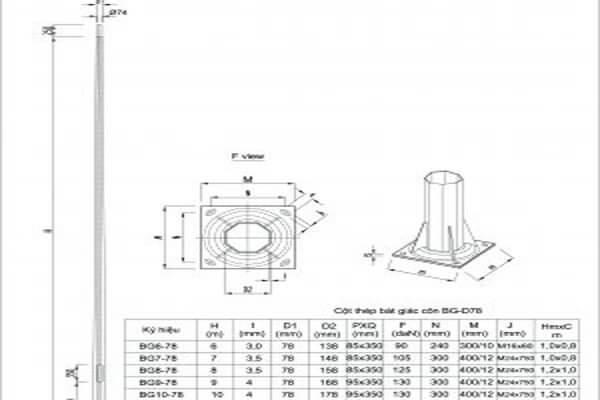 cột đèn đa giác 17M-DG17-150