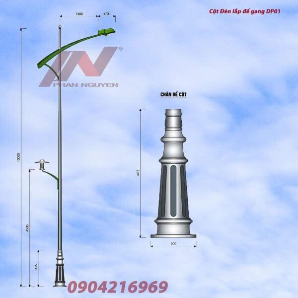 Cột đèn đường phố lắp đế gang DP01
