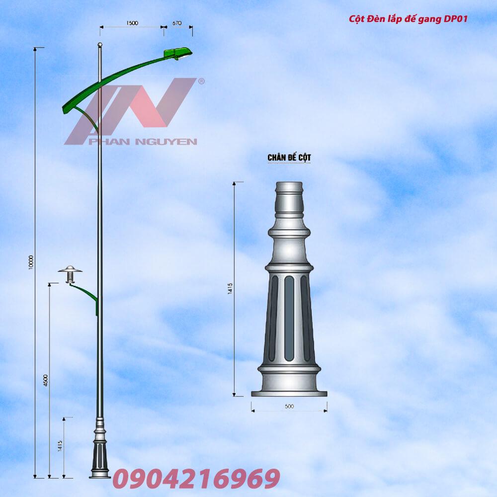 Cột đèn đường phố lắp đế gang trang trí DP01