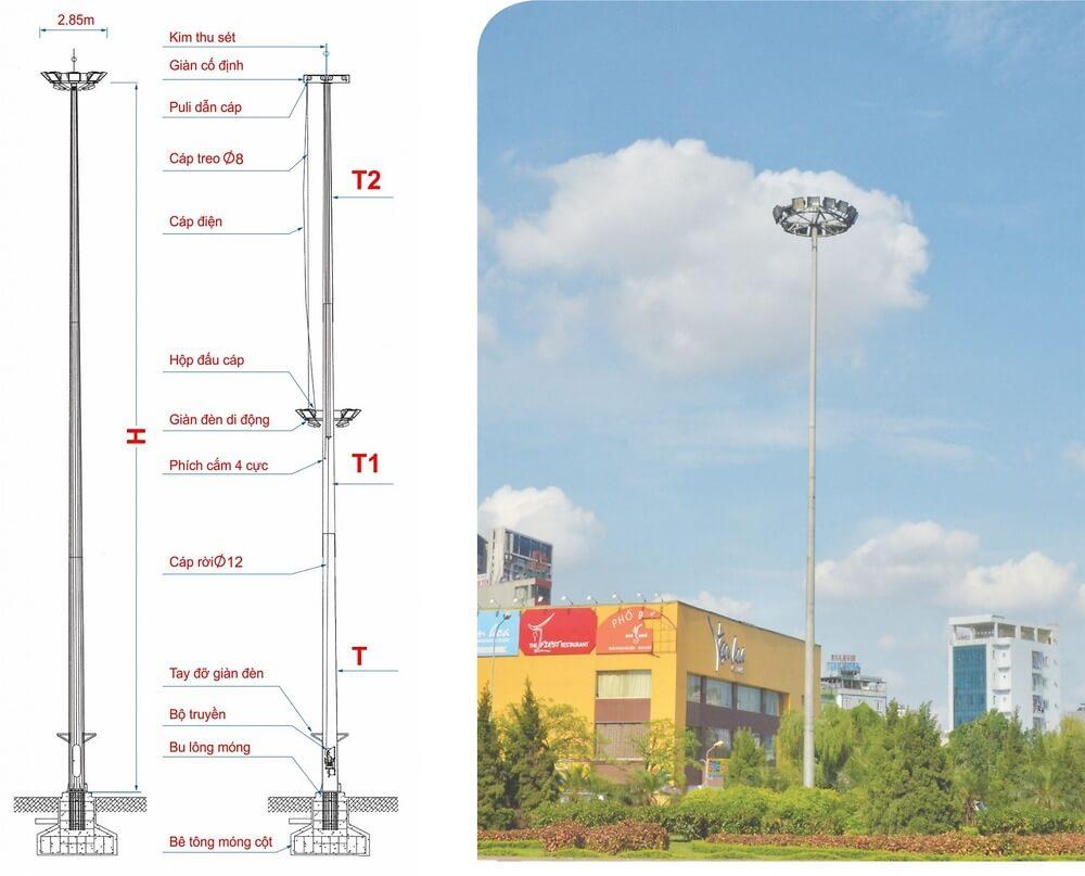Thông tin về cột đèn giàn đèn nâng hạ DG25B.