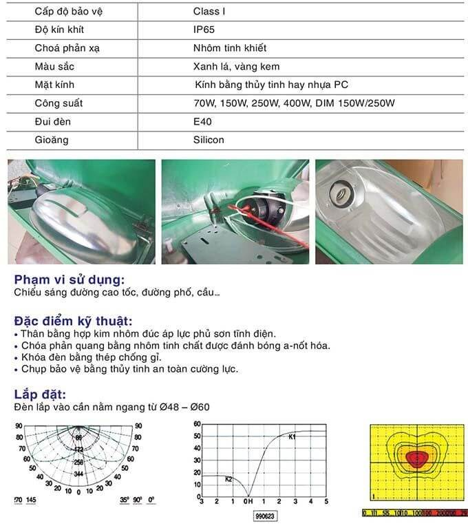 Những thông số kỹ thuật cho thấy sự cẩn thận trong thiết kế đèn cao áp Neptune
