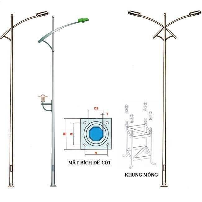 Các loại cần đèn được lắp đặt theo đúng tiêu chuẩn