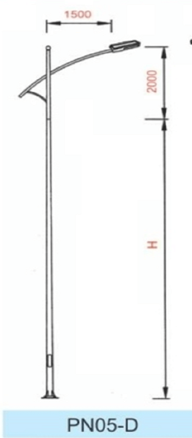 Đặc điểm kích thước của cần đèn cao áp PN05-D