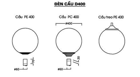Thông số kỹ thuật đèn sân vườn D400 PE