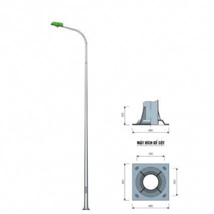 Cột đèn tròn côn liền cần đơn có kiểu dáng tinh tế, thanh thoát hơn loại liền cần kép