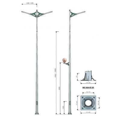 Cột đèn cao áp tròn côn rời cần 7m TC7-78