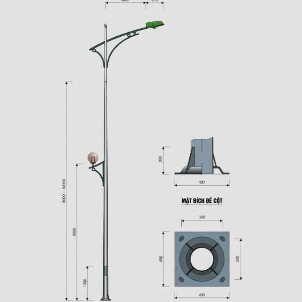 Cột đèn cao áp tròn côn rời cần cao 8m TC8-78
