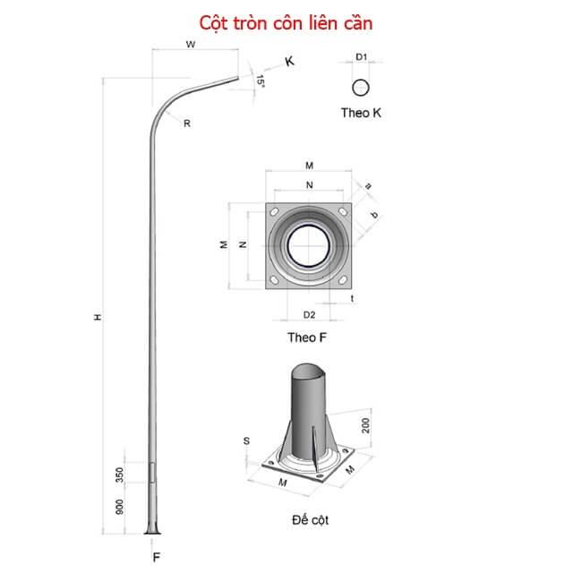 cột đèn cao áp theo thiết kế