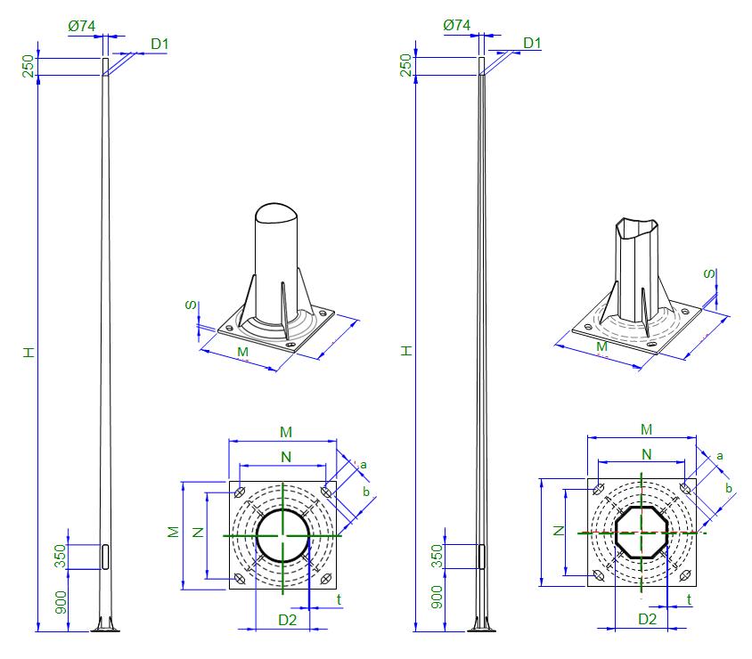 Thiết kế của cột đa giác trong quá trình sản xuất và lắp đặt
