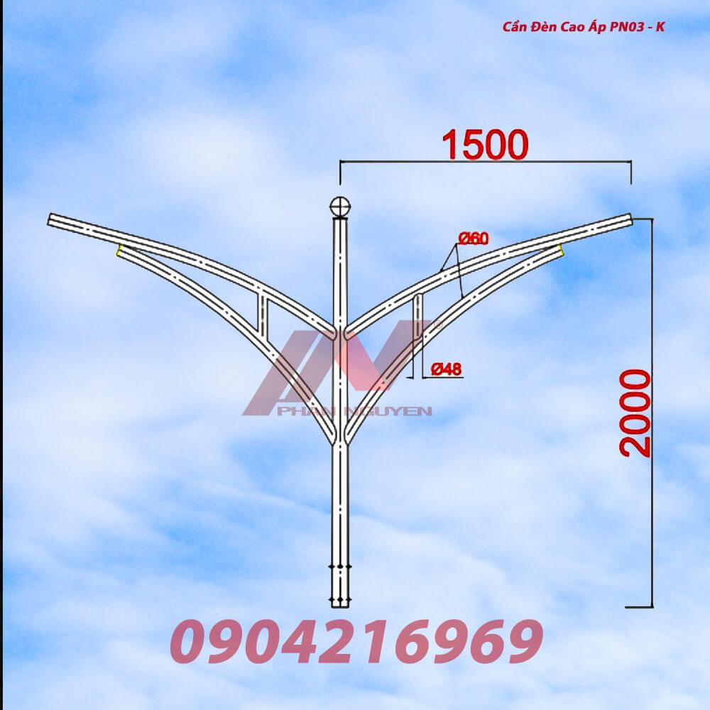 Cần đèn cao áp kép PN03-K với thiết kế tinh tế, phù hợp nhiều cột đèn chiếu sáng