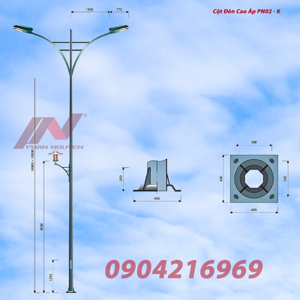 Cột đèn cao áp cao 10m bát giác rời cần lắp cần kép PN02-D