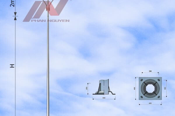 cột đèn cao áp bát giác rời cần cao 11m lắp cần đèn kép PN04-K