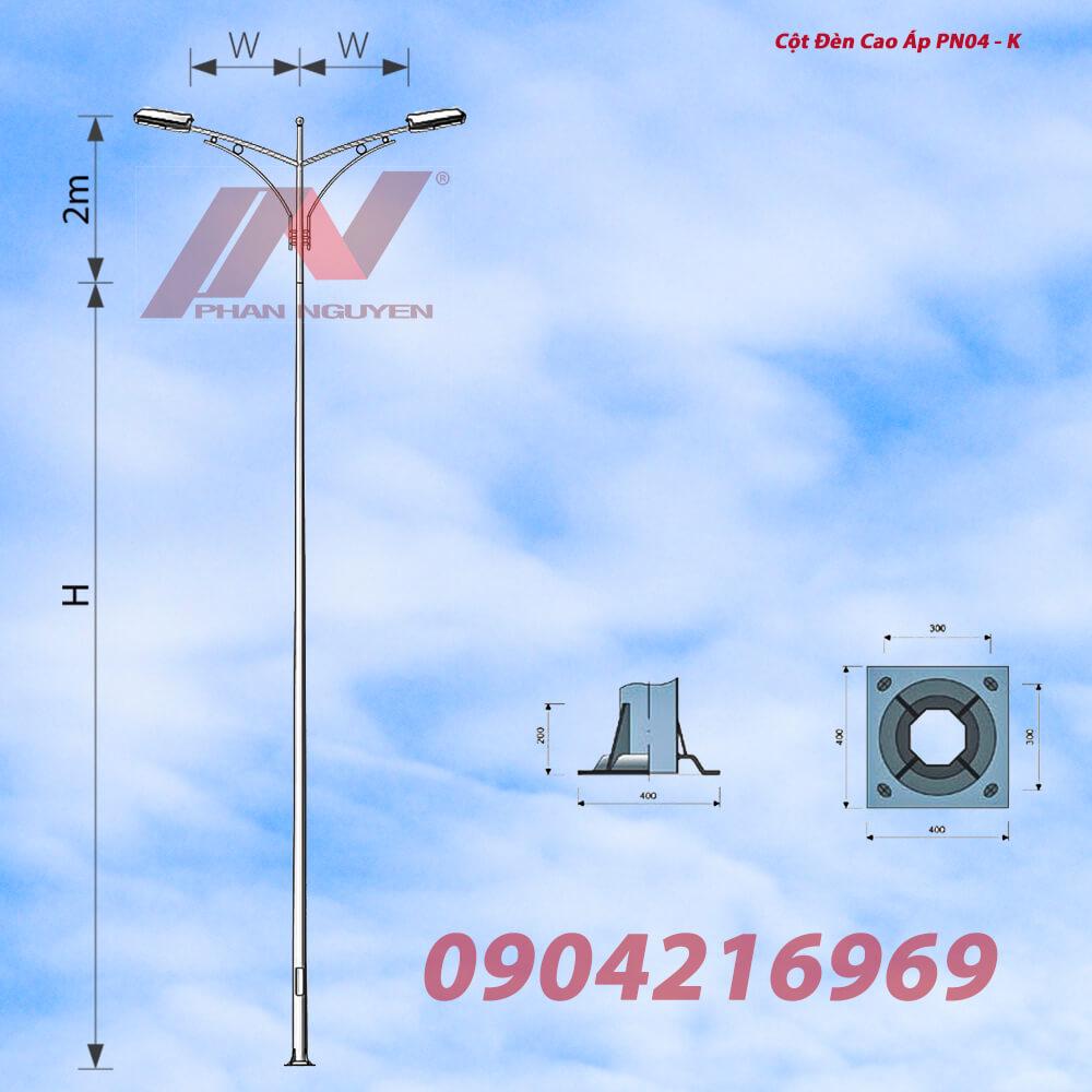 Cột đèn cao áp bát giác rời cần cao 9m lắp cần đèn kép PN04-K