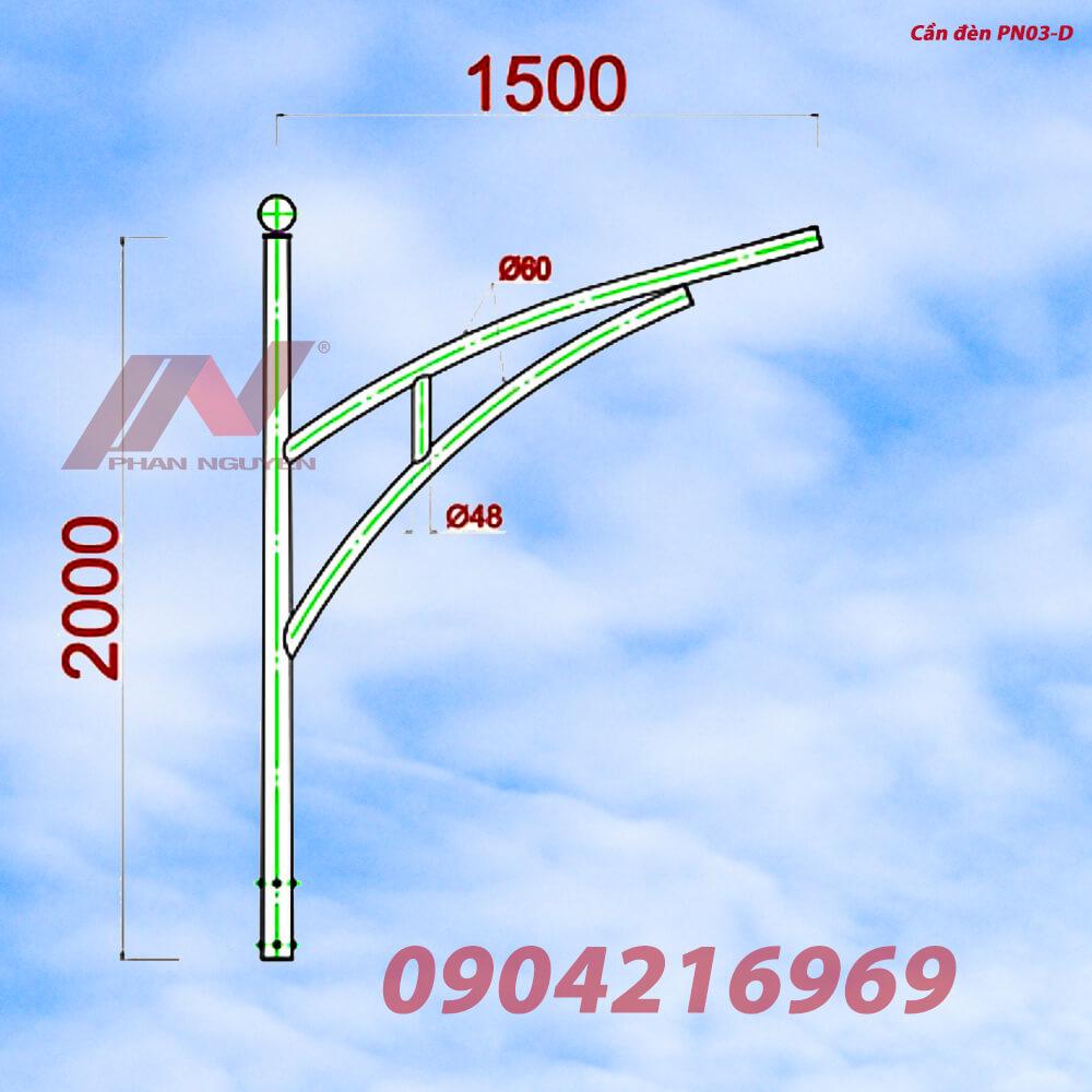 Cột đèn cao áp 6m bát giác rời cần BG6-78 lắp cần đèn đơn PN03-D