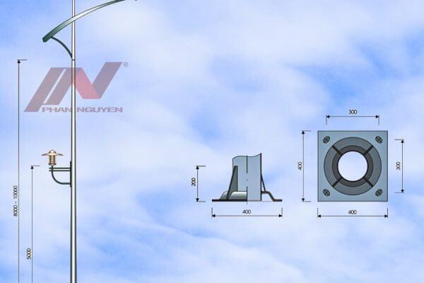Cột đèn cao áp 6m bát giác rời cần lắp cần đèn PN05-D