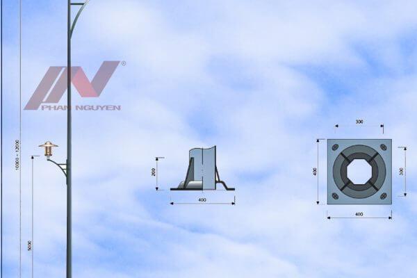 Cột đèn cao áp cao 7m bát giác rời cần lắp cần đèn đơn PN02-D