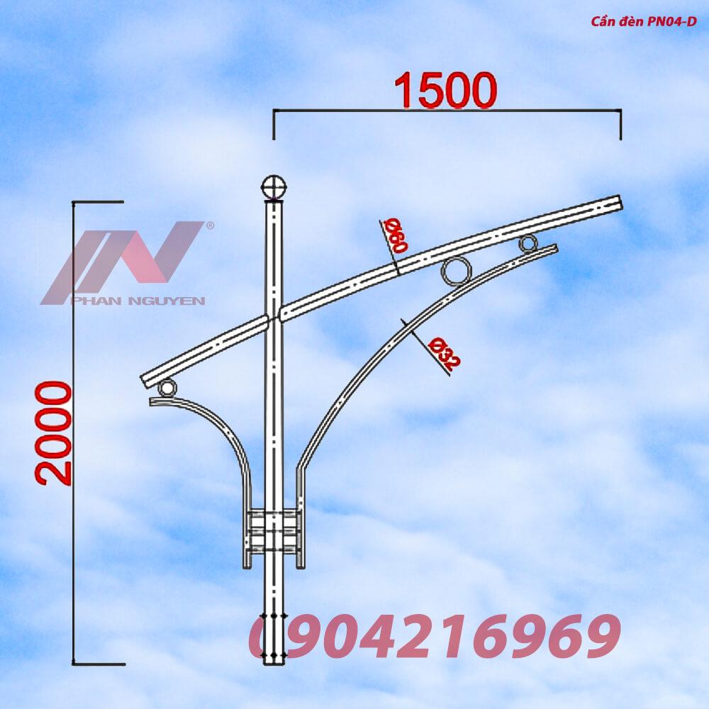Cần đèn cao áp đơn PN04-D thiết kế đơn giản, không kém phần tinh tế