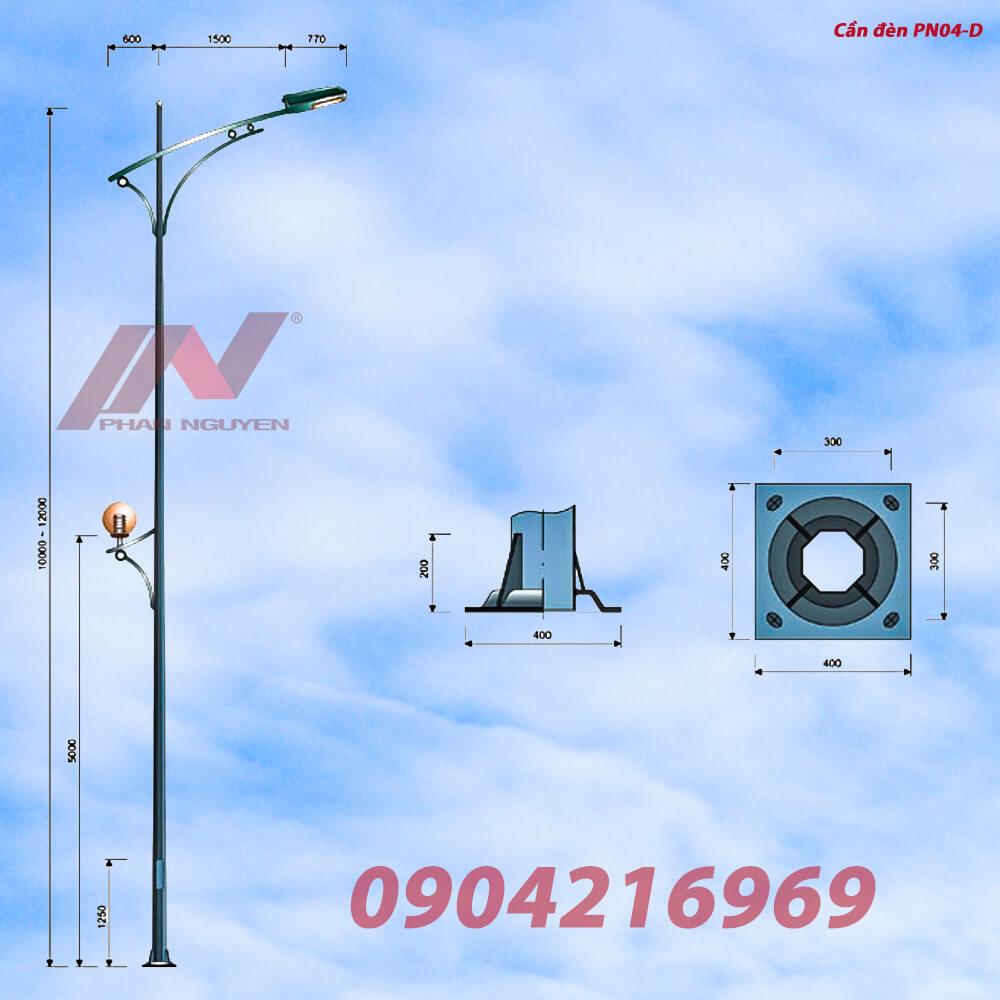 Cột đèn cao áp cao 7m bát giác rời cần lắp cần đèn đơn PN04-D