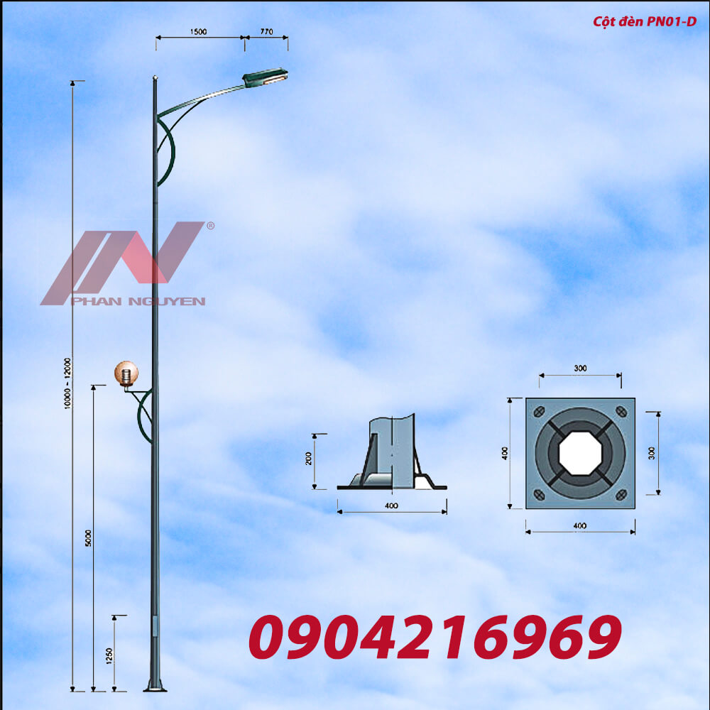 Cột đèn cao áp bát giác rời cần BG8-78 lắp cần đèn đơn PN01-D