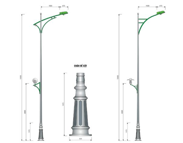 Cần đèn đơn PN04-D có thể lắp với nhiều cột đèn cao áp