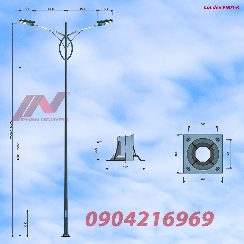Cột đèn cao áp cao 8m bát giác liền cần đơn lắp cần đèn kép PN01-K