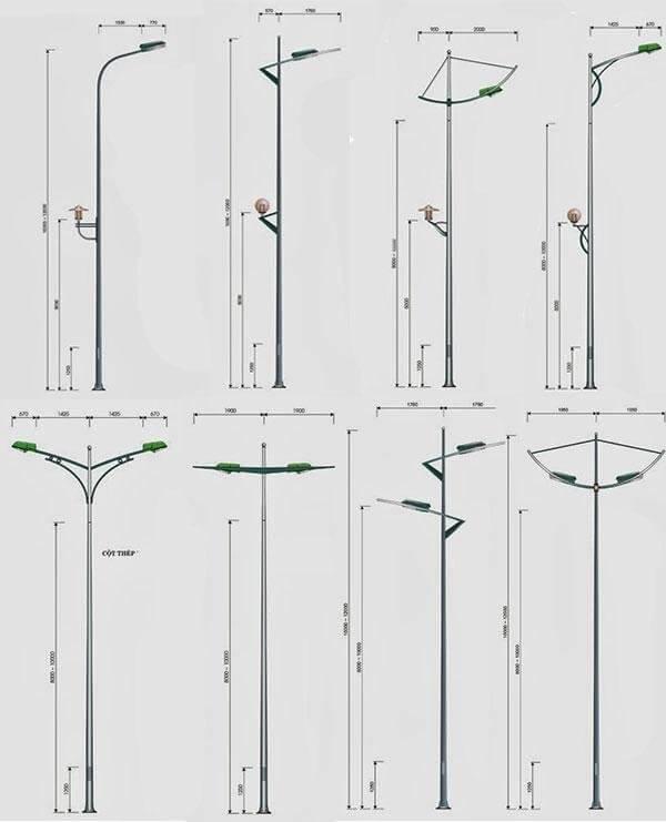 Thiết kế cột đèn cao áp bát giác rời cần