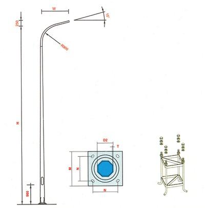 cột đèn cao áp bát giác liền cần đơn 10m - BGLCĐ10