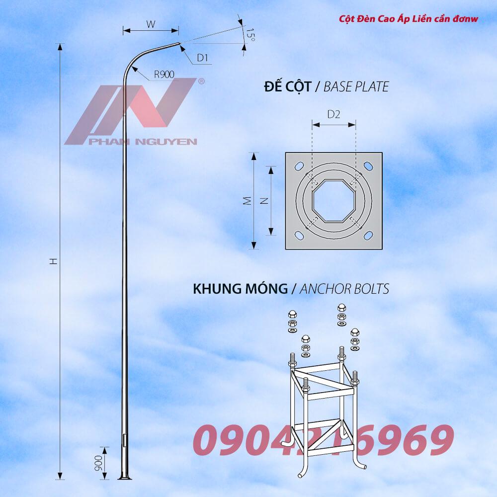 Cột đèn cao áp bát giác liền cần đơn cao 9m