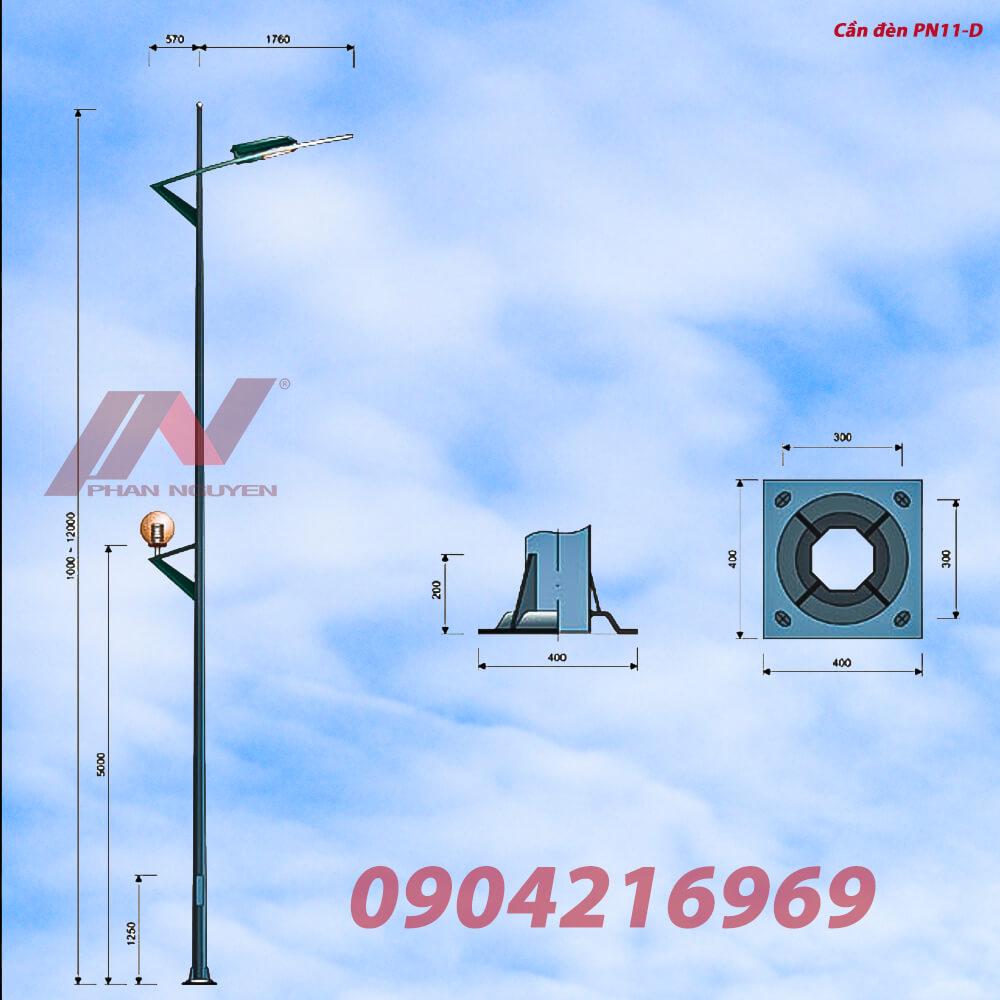 Cột đèn cao áp bát giác liền cần đơn 11m – BGLCD11