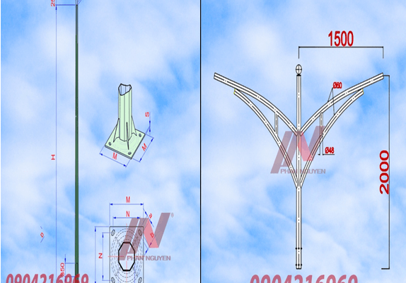 cột đèn cao áp bát giác rời cần cao 11m lắp cần đèn đôi PN03-K
